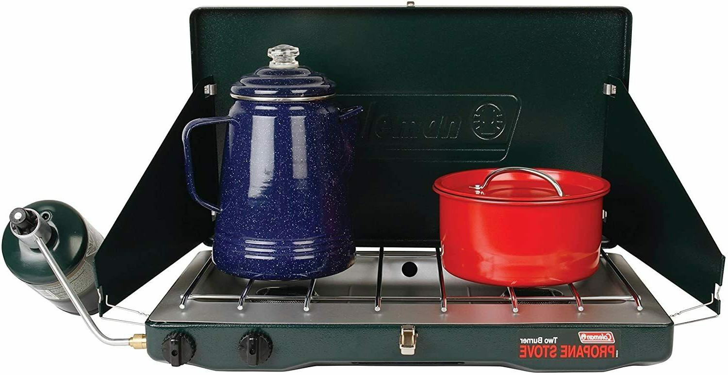Coleman Gas Camping Stove Classic Propane with 2 Burner & Wi