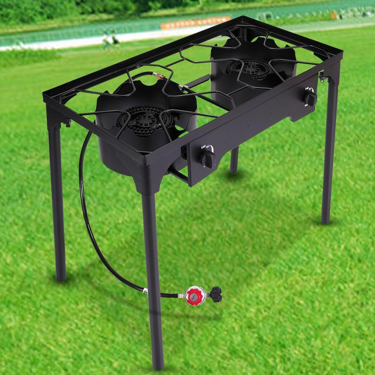 Double Stove Gas Grills Stainless Griddle Cooktop Two Burner