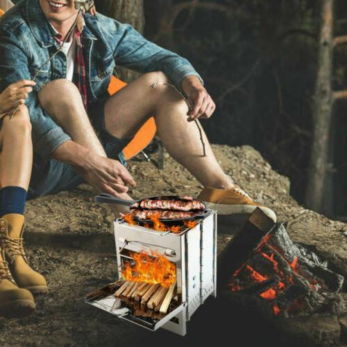 Lixada Folding Stainless Steel Wood Burning Stove Camping Picnic