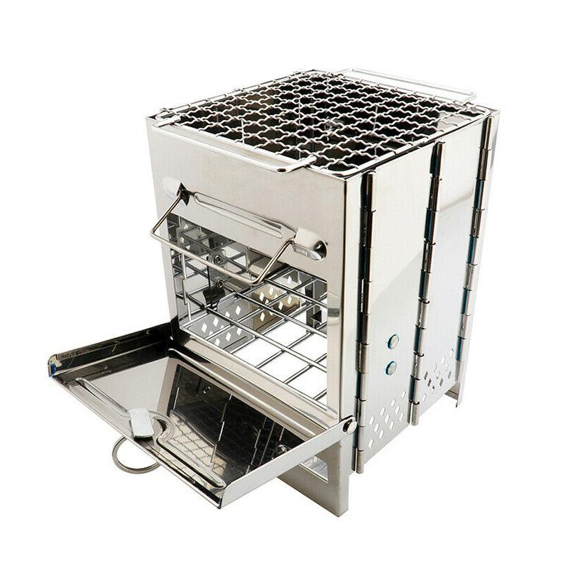 folding stainless steel wood burning stove outdoor