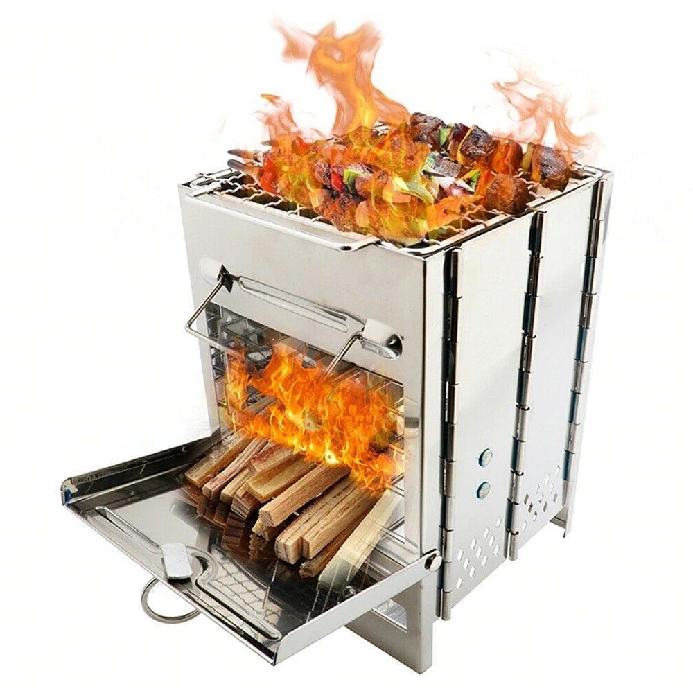 Folding Burning Stove, Steel Mini Wood Burning Camp