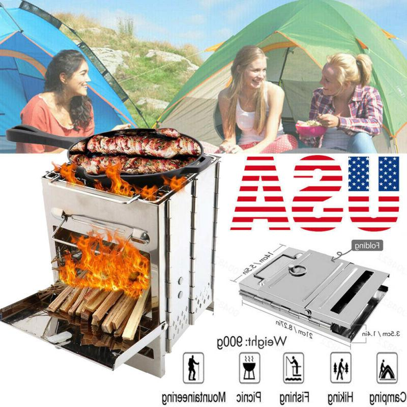 Folding Stainless Steel Wood Burning Stove Outdoor Camping P