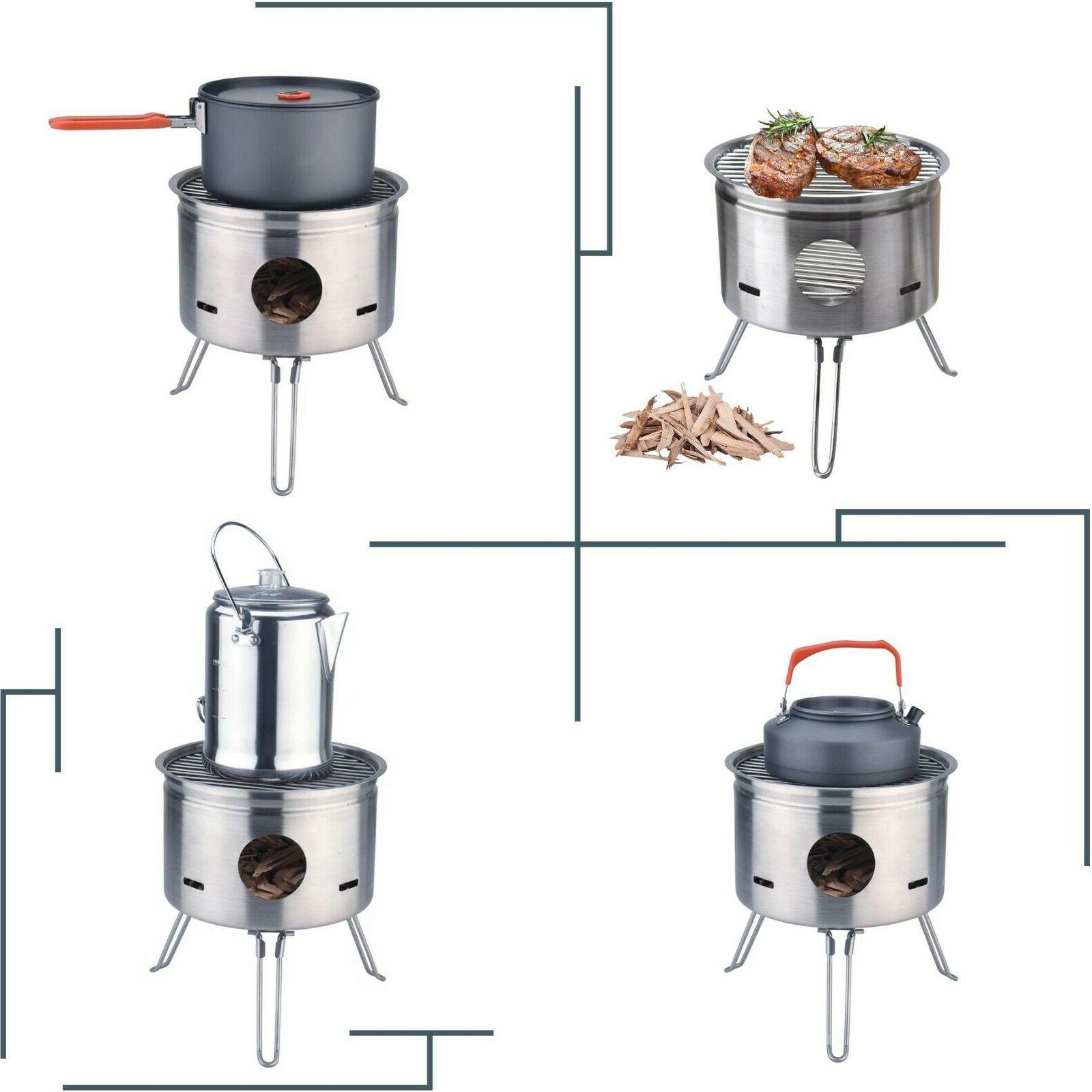 Outdoor Camping Wood Stove BBQ Portable