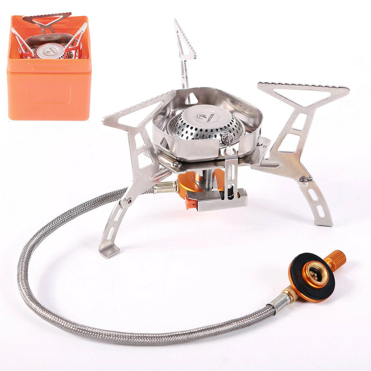 portable backpacking stove for camping piezo ignition