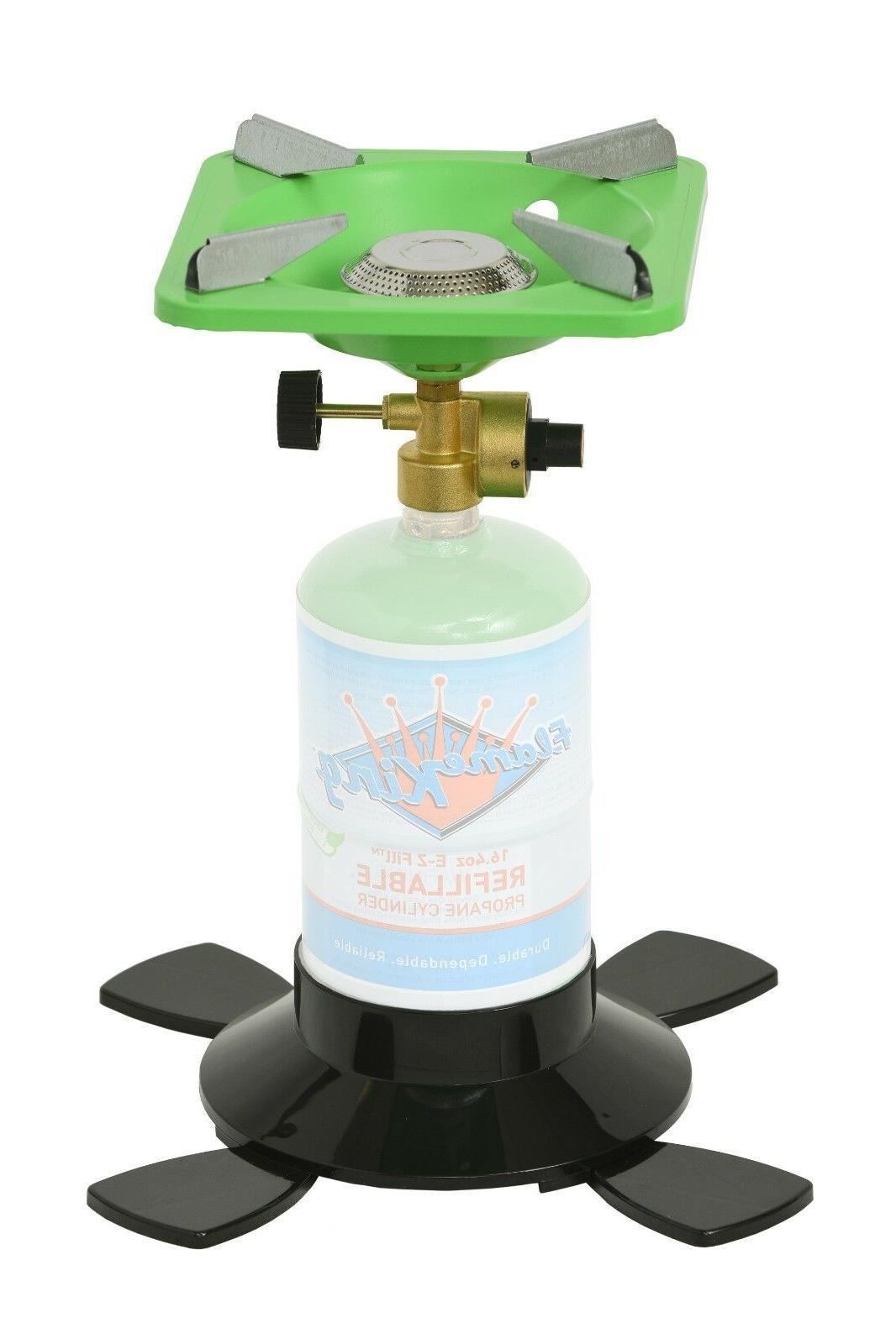 single burner portable camping stove with base