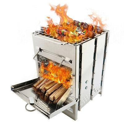 Folding Stainless Steel Backpacking Wood Burning Stove BBQ G