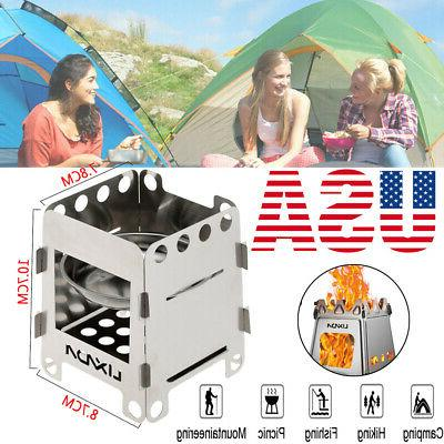 stainless steel folding wood stove pocket cooking