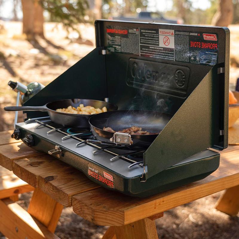 Camping Stove Adjustable 2 Burner Coleman Gas Classic Propan