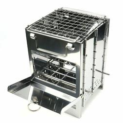 New Folding Stainless Steel Backpacking Wood Burning Stove M