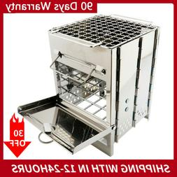 NEW Folding Stainless Steel Wood Burning Stove Outdoor Campi