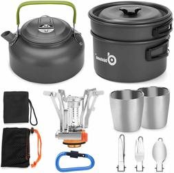 Odoland 12pcs Camping Cookware Mess Kit with Mini Stove, Lig