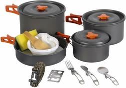 REDCAMP Outdoor Camping Cookware Set with Stove Anodized Alu
