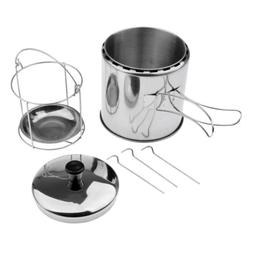 Outdoor Cooking Pot Stainless Steel Hiking Backpacking Bakin