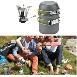 Outdoor Cookware Mess Kits Picnic Pot Pan Bowl Mini Stove Co
