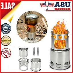 Outdoor Portable Wood Stove Folding Cooking Picnic Camping B