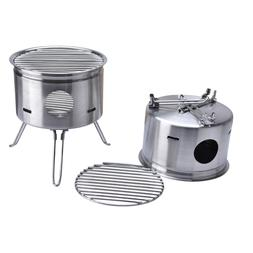 Outdoor Stainless Steel Foldable Camping Wood Stove BBQ Port