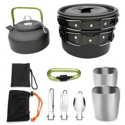 Outdoor Teapot Pot Camping Picnic Set Cookware Mess Kit Cara