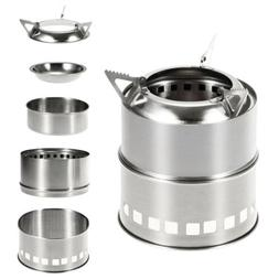 Outdoor Wood Burning Stove Backpacking Camping Stainless Ste