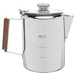 "Coletti""Bozeman"" Percolator Coffee Pot - 9 CUP Stainless Ste"
