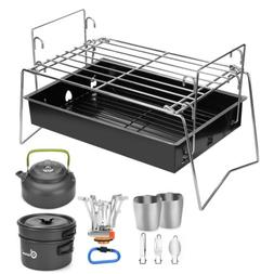 Portable Camping Cookware Mess Kit Barbecue Grill Stove Pan