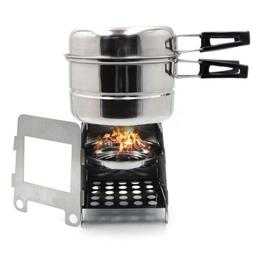 Portable Camping Outdoor Stove Cookware Stainless Steel Cook