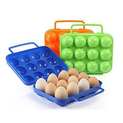 3 Pack Portable Egg Storage Box Container Hiking Outdoor Cam