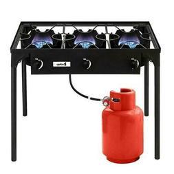 Goplus Portable Propane 225,000-BTU 3 Burner Gas Cooker Outd