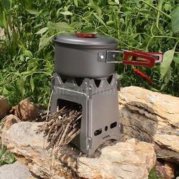 TOMSHOO Portable Titanium Camping Wood Stove Folding Wood Bu