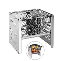Wood Burning Camp Stove Portable Folding Stainless Steel BBQ