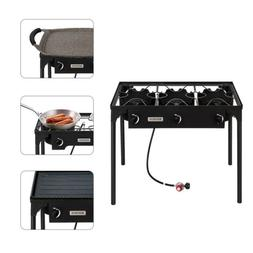 Propane Stove 3 Burner Gas Outdoor Portable Camping BBQ High