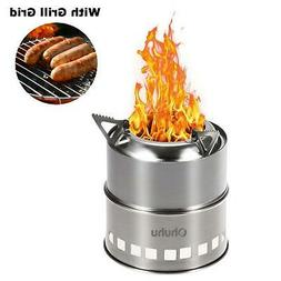 Stainless Steel Backpacking Potable Wood Burning Camping Sto