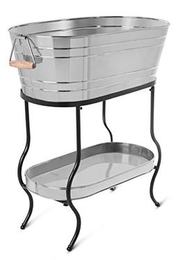 BIRDROCK HOME Stainless Steel Beverage Tub with Stand | Oval