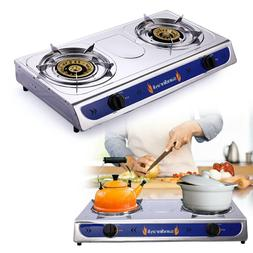 Stainless Steel Double Burner Gas, Portable Propane Gas Stov