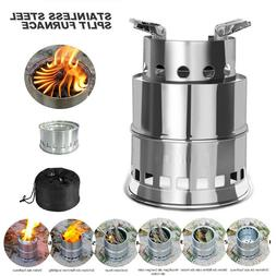 Stainless Steel Portable Wood Camping Hiking Cook Picnic Sto