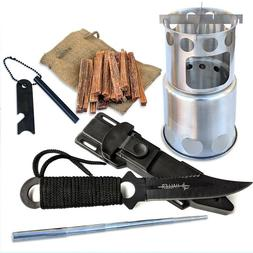 Survival Camping Backpacking Stove Fatwood Tactical Knive Fe