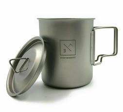 Titanium 450ml Cup Mug Folding Handles - Compact Travel Camp