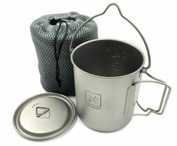 Titanium 750ml Pot Mug Folding Handles and Hanger- Compact T