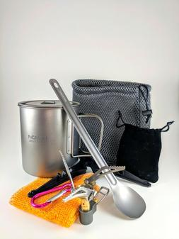 Titanium Ultralight Cook Kit Mess Kit Camping Backpacking Po