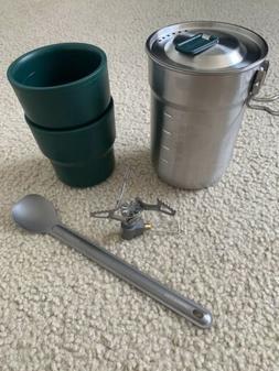 Ultralight Camping Cook Kit- UL Titanium Stove And Spoon. Sh