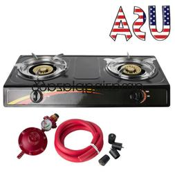 UPS Portable Propane Double Burner Camping Gas Stove W/1M Ho