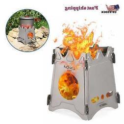 US Camping Titanium Stove Portable Folding Wood Burning Stov