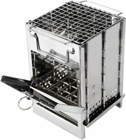 Wood Burning Camp Stove Folding Stainless Steel Grill Portab
