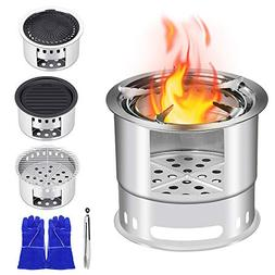 KINDEN Wood Camping Stove Bonfire Fire Pit - 5 in 1 Multifun